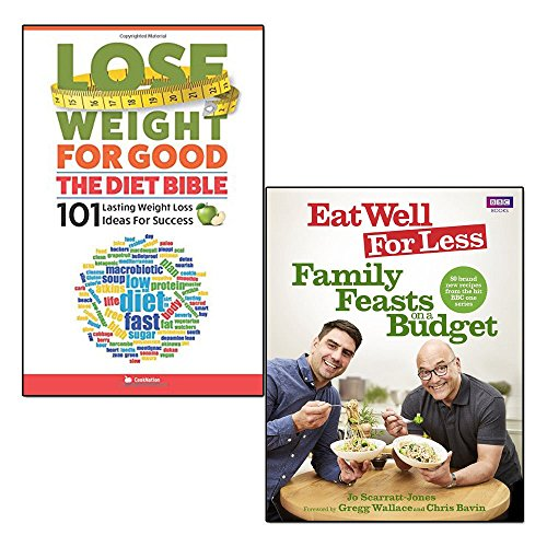 eat well for less and lose weight for good 2 books collection set - family feasts on a budget, the diet bible 101 lasting weight loss ideas for success