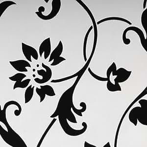 liedeco fl chenvorhang stoff print schiebevorhang wei schwarz. Black Bedroom Furniture Sets. Home Design Ideas