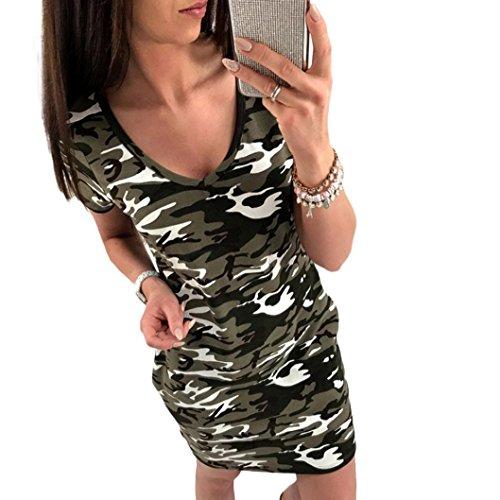 hansee Frauen Casual Kleid Camouflage V-Ausschnitt Kleid Short Sleeve Skinny Mini Kleid, damen, grün (Spring Knie Länge)