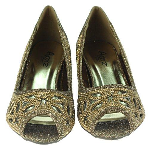 Frau Damen Diamante Besetzt Detail Ausschneiden Peep Toe Klein Kittenheel Abend Party Hochzeit Abschlussball Sandalen Schuhe Größe Braun