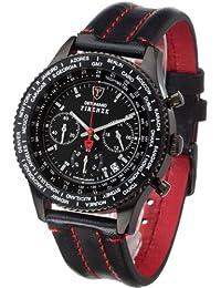 Detomaso Firenze - Reloj de cuarzo para hombres, con correa de cuero de color negro, esfera negra