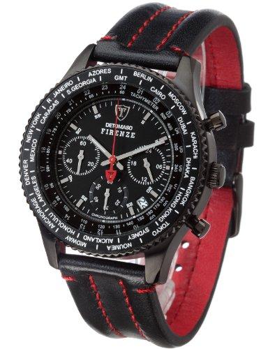 DETOMASO Herren-Armbanduhr Firenze Chronograph mit Lederarmband und Mineral-Kristallglas.Klassische/Moderne und wasserichte Quarz-Uhr mit schwarzem Ziffernblatt