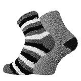 TippTexx 24 Kuschel Socken für die ganze Familie, 2 Paar (Ringel-Grau, 42/47)