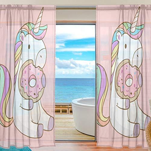 rodde El Panel Transparente de la Cortina de la Ventana de Las donas del Unicornio Cubre 55x84 Pulgadas 2 Pedazos para el Dormitorio de la Sala de Estar el Sitio de los Cabritos