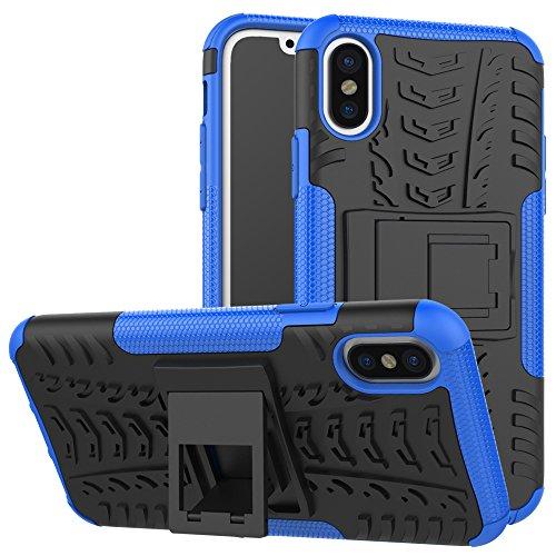 """MOONCASE iPhone X Coque, [Anti Choc] Robuste Armure Defender Housse Flexible TPU avec Support Fonction Protection Étuis Cases pour iPhone X 5.8"""" Rouge Bleu"""