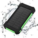 Solar Charger Power Bank 10,000mAh - FLOUREON Portable Mobile Phone Solar Charger Power Bank Dual USB 1.0A/2.1A Max IP67 Waterproof LED SOS Flashlight External Battery for iPhone, iPad, Samsung Galaxy and Android Phone(Green)