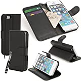 Madcase Apple iPhone Se / 5s / 5 Premium Grained Faux Leather Wallet Case Kickstand Flip Cover Including Screen Protector and Stylus Touch Pen - Black