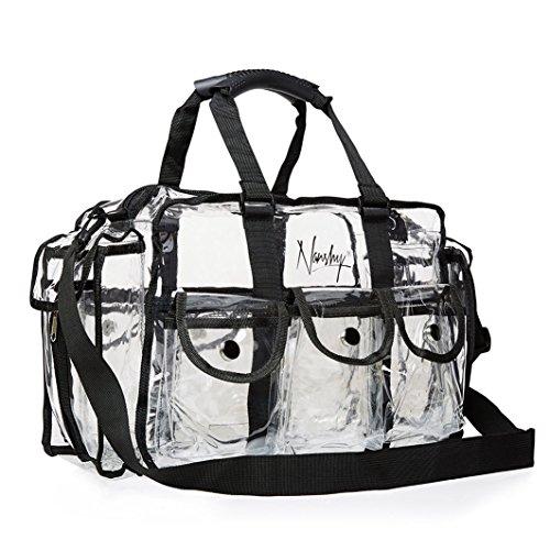 Auge-verschluss (Nanshy klare Tasche für Make-up-Artists, MUA, große Aufbewahrungs- und Reisetasche mit Reißverschluss, Organizer mit Griffen, Seitentaschen, Schultergurt und Fächern, PVC Kunststoff Vinyl)