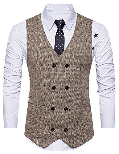 Boom Fashion Herren doppelt breasted Anzugweste Freizeit Business Casual Slim Fit Weste V-Ausschnitt Blazer Braun 1