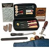 HOLZWURM Leder-Nähset, ideales Leder-Werkzeug-Set zum Nähen inkl. Tasche - Starter Kit mit Ahle, Nahtversenker, Garn, 7 Nadeln & Zubehör