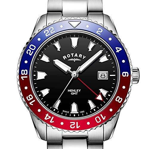 Rotary GB05108/30 - Orologio da uomo in acciaio INOX, colore: Rosso/Blu