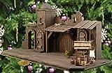 OLBAUM-Krippe KO70at-OF-BRK- Große XXL 70 cm Weihnachtskrippe, mit LED + Brunnen + Dekor, Massivholz edel SCHWARZ Orient - mit / ohne Figuren - auf Wunsch* Krippe mit Beleuchtung und PREMIUM-Krippenfiguren, Trafo und Krippen - Lämpchen / Laterne, orientalische Krippe