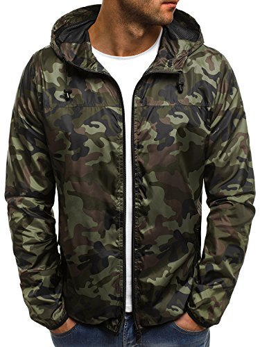 OZONEE MIX Herren Jacke Übergangsjacke Frühlingsjacke Kapuzenjacke Camouflage Sportjacke Motiv Windjacke RF/192 GRÜN 2XL