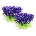 Passica 2 Pcs Artificial Aquarium Plastic Plants Ornament Fish Tank Decorations Tree Purple Coral 3