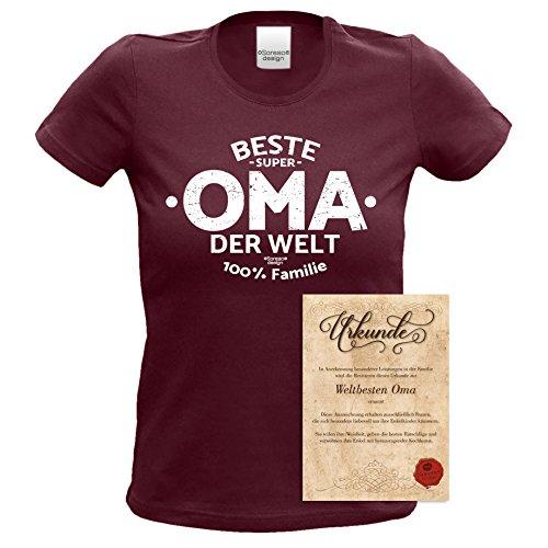 Beste Oma der Welt : Geschenk-Set Damen T-Shirt und Urkunde : Geschenkidee zum Muttertag Muttertagsgeschenk Geburtstagsgeschenk für Großmutter Farbe: burgund Burgund