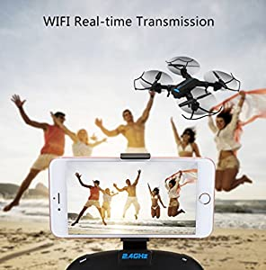 YMXLJJ Folding Drone And 2MP120° HD Wide-Angle Camera Remote Four-Axis Aircraft WIFI FPV Transmission Height Retention/3D Tumbling Black