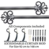 """Deco Essential Iron Extendable Curtain Rod (36""""-66"""")(Charcoal)"""