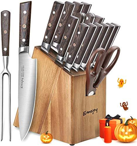 Emojoy Messerblock, Messerset, 16-TLG, Küchenmesser Set mit Holzgriff, Kochmesserset mit Block, Fleischgabel, Holzoptik