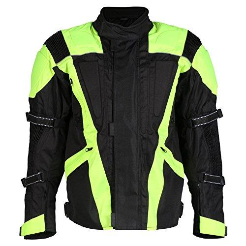 Turin - Herren Motorradjacke mit Protektoren - wasserdicht & erhöhte Sichtbarkeit - Größe EU 60 / Brustumfang 127cm / 3XL