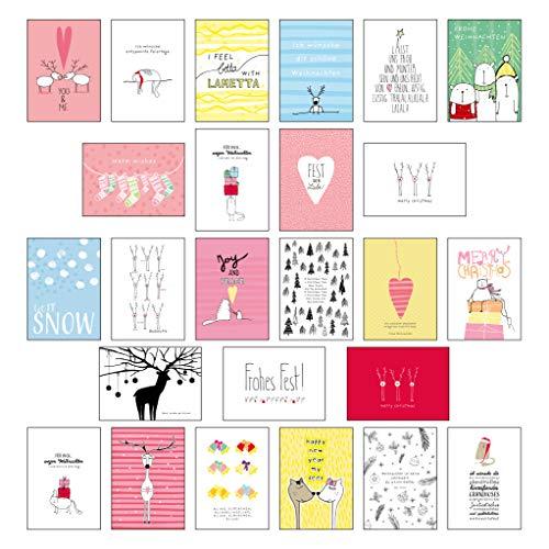 25 handgemachte Weihnachtskarten Teil 2: Hochwertiges Weihnachts-Postkarten-Set mit wunderschönen, detailverliebten und von Hand designten ... weihnachtlichen Sprüchen und Zitaten