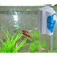 Malloom® magnética Cepillo Raspador limpiador de vidrio para Acuario Pescado tanque algas ...