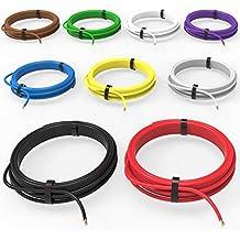 Auprotec® Cable unipolar 1.0 mm² Hilo eléctrico en anillo: Set 9 colores a 5m
