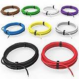 Auprotec® Câble unipolaire 1.0 mm² Fil Électrique: Set 9 couleurs á 5m...