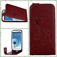 SRY La PU + TPU grabó en relieve el caso de cuero vertical del tirón del estampado de plores de Rose con la ranura para tarjeta para Samsung Galaxy S3 I9300 ( Color : Brown )