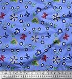 Soimoi Blau Viskose Chiffon Stoff Blätter, Schmetterling &