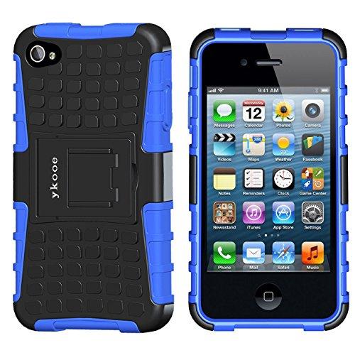 ykooe Handyhülle für iPhone 4 Hülle, iPhone 4s Hülle, Dual Layer TPU Schutzhülle Drop Resistance Protection Case mit Ständer für Apple iPhone 4 4S (Blau)