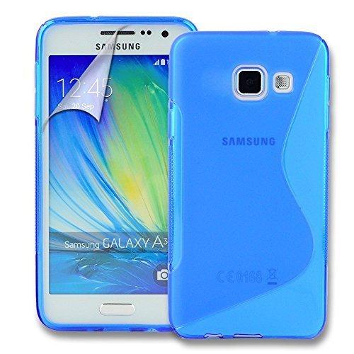 Connect Zone Samsung Galaxy A3 (2016) S Line Gel Silicone Étui + Protection Ecran Protection Et Lingette De Polissage - Bleu S Line Gel, -