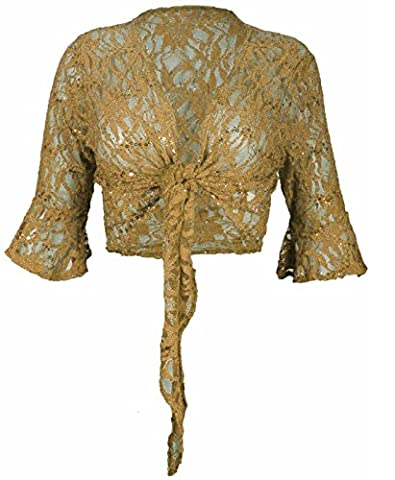 New Womens Floral Lace 3/4 Three Quarter Short Sleeve Ladies Front Tie Up Sequin Shrug Bolero Stretch Cropped Top Cardigan Plus Size (XL 16-18,