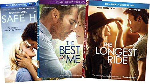 3-Film Nicholas Sparks Trilogy - Safe Haven/ The Best of Me/ The Longest Ride (Blu-ray + DVD) (Nicholas Sparks-film-dvd)