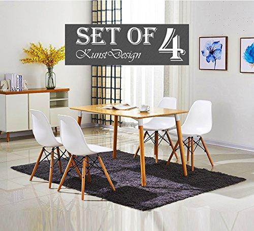 KunstDesign Ensemble de 4 chaises de style Eames, design ergonomique, pieds en bois de hêtre naturel, look moderne du milieu du siècle, parfait pour: restaurant, salon de thé, salle à manger, chambre, salon, café, hall, cuisine, cour, etc.(Eames-Blanc)