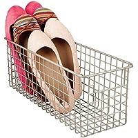 mDesign cesta metalica para los productos de limpieza de sus zapatos - Cesta organizadora provista de asas para un cómodo transporte - Color satinado