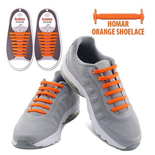 Homar No Tie Lacci per scarpe per bambini e adulti - Impermeabile in silicone elastico piatto Laces Athletic scarpa da corsa con multicolore per Scarpe Sneakerboots bordo e scarpe casual (Adult Size Orange)
