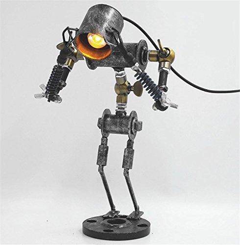 H&M Lámparas de escritorio Retro Industrial Vintage lámpara de escritorio hecha a mano ajustable Robots hierro LED lámpara de mesa Dormitorio Salón Cama de la lámpara de la barra de café clásico creativo personal luz mesa de mesa de luz