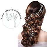 Skitic Strassbesatz Haarband und Stirnband mit Kristall(1 m), Fashion Schön Style Kopfschmuck Haarbänder Lange Glänzende Haarranke für Frauen und Mädchen (Silber)