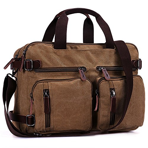 Imagen de baosha hb 22 vintage lienzo bolso de mano hombres del maletín  convertible bolsa de ordenador portátil  de viaje senderismo  marrón café 38.5 x 28.5 x 13 cm café  alternativa