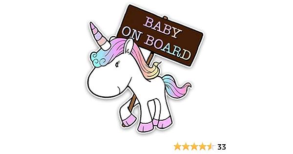 Erospa Auto Aufkleber Kfz Baby On Board Einhorn Car Sticker Baby