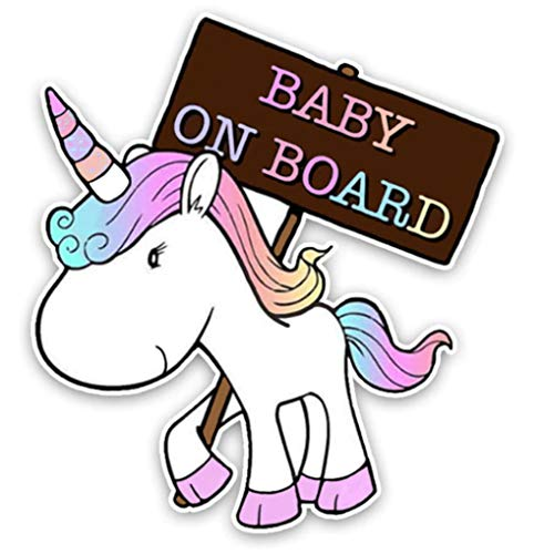 EROSPA® Auto-Aufkleber KFZ - Baby On Board - Einhorn - Car-Sticker