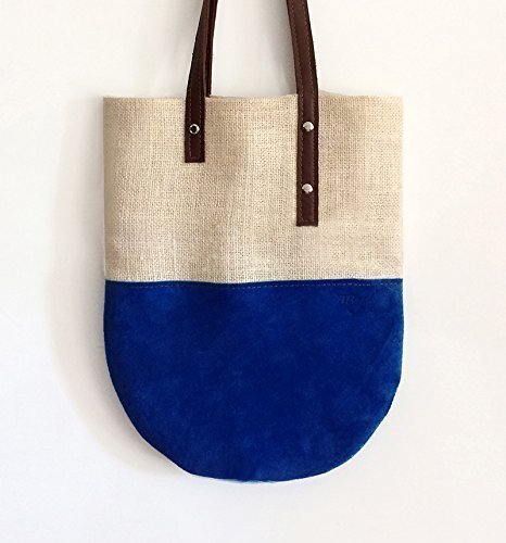 Suede jute tote bag with leather shoulder strap, handmade handbags limited edition BBagdesign. - handmade-bags