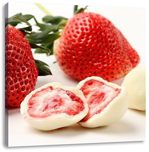 Köstliche Erdbeeren mit Schokolade umhüllt, Format: 60x60 auf Leinwand, XXL riesige Bilder fertig gerahmt mit Keilrahmen, Kunstdruck auf Wandbild mit Rahmen, günstiger als Gemälde oder Ölbild, kein Poster oder Plakat -