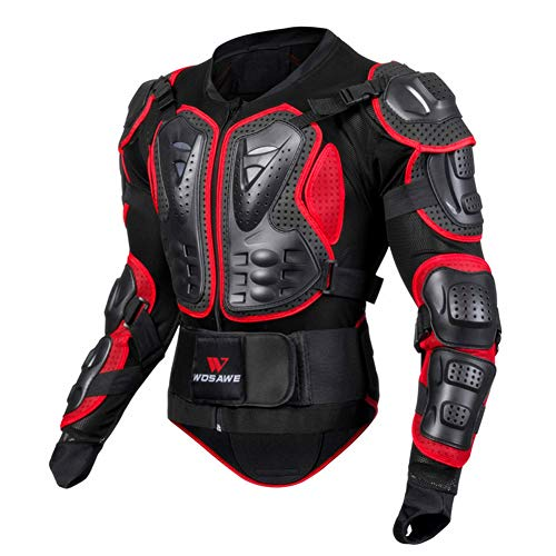 Sanqing Motorrad-Schutzjacke, atmungsaktive Motorrad-Ganzkörper-Rüstungsschutz-Rennjacke Motocross-Schutzhemd für Outdoor-Sport-Schutzjacke,Red,XL - Fox Racing Jersey Mesh
