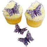 12, vorgeschnitten, Lila Spitze, handgefertigt, 3D-Schmetterling, glitzernd, essbar, aus Oblatenpapier, vorgestanzt