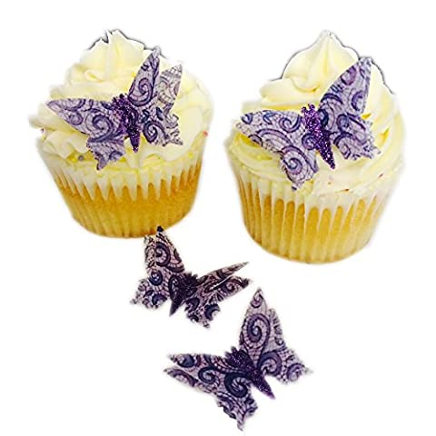 12 Precut Handmade Purple Lace 3D Effect Glitter Body Butterfly Edible Wafer Paper Cake Toppers Decorations by Top That