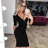 Kanpola Kleider Damen Frauen Tiefes V Ausschnitt Minikleid Shirt Kleid Abendkleider Cocktailkleid Partykleid (B4-11-Schwarz, 38)