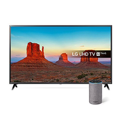 LG 55UK6300PLB 55-Inch UHD 4K HDR Smart LED TV with Freeview Play - Black  2018 Model  with All-new Amazon Echo  2nd generation   Heather Grey Fabric Bundle