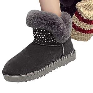 SCHOLIEBEN Boots Stiefel Damen SchneeSchwarz Grau Ankle Winter Für Fell Flach Plateau Warmfutter Kurzschaft Halbhohe Halbschaft Retro Chukka Zip Platform