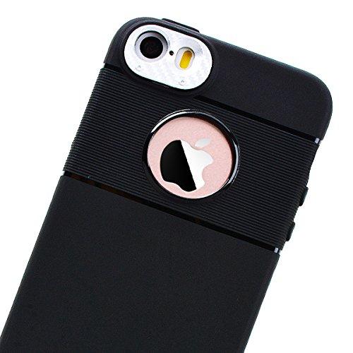 HB-Int Schutzhülle für iPhone SE / 5S / 5 Schwarz Handytasche mit Eingebauter Magnetplatte Rosegold Kameraobjektiv Schutz Silikon Back Hülle Magnetische Auto Mount Plate Bumper Case Silber